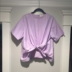 Do + Be lilac top boxy EUC tie front adjustable